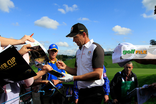 Padraig Harrington signs autographs during Practice Day 1 at the 2010 Ryder Cup at the Celtic Manor Twenty Ten Course, Newport, Wales, 28th September 2010..(Picture Eoin Clarke/www.golffile.ie)