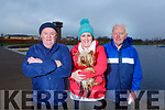 Sean O'Sullivan, Ann Marie Prenderville with dog Izzy and Michael Daly all from Ballyfinane at the Let's get Kerry walking, National Operation Transformation Walk in the Tralee Bay Wetlands on Saturday.