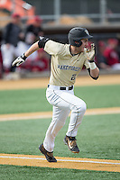Johnny Aiello (2) of the Wake Forest Demon Deacons hustles down the first base line against the Harvard Crimson at David F. Couch Ballpark on March 5, 2016 in Winston-Salem, North Carolina.  The Crimson defeated the Demon Deacons 6-3.  (Brian Westerholt/Four Seam Images)