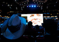 (Miller Hallett 09.04.08) A video is projected on a large screen of Presidential Nominee John McCain just before he took the stage on the final night of the Republican National Convention at the Xcel Energy Center in St. Paul.  (Columbus Dispatch Photo by Lisa Marie Miller)
