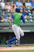 Third baseman Emmanuel Rivera (7) of the Lexington Legends bats in a game against the Greenville Drive on Friday, June 30, 2017, at Fluor Field at the West End in Greenville, South Carolina. Lexington won, 17-7. (Tom Priddy/Four Seam Images)