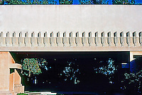 F.L. Wright: Barnsdall House. Looking from interior court towards pool, which is obscured.