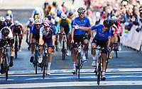 Picture by Simon Wilkinson/SWpix.com - 23/09/2017 - Cycling UCI 2017 Road World Championships Bergen Norway - Road Race <br /> Mens Junior- winner and rainbow jersey - JOHANSEN Julius - RASTELLI Luca, GAZZOLI Michele - Jake STEWART