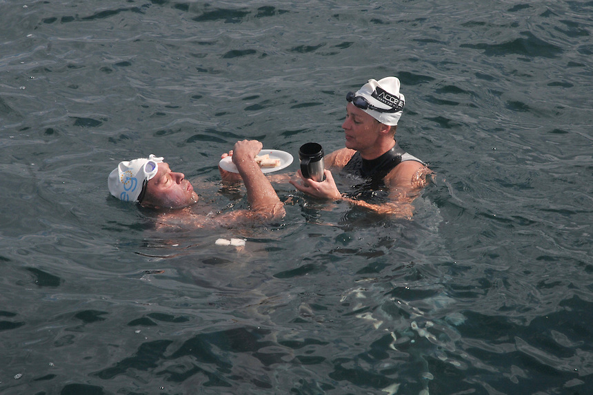 Australian John Van Wisse who completed a Double English Channel crossing in 19hrs 55 mins.From 7th August-8th August 2010. With sister Tammy Van Wisse. They completed a brother sisiter swim in 1993..Food breaks are all in the water..England to France 09 23 32.France to England 10 32 16.Pic Jayne Russell..08.08.2010