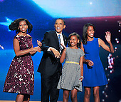 First family appears on stage following the acceptance speech of United States President Barack Obama at the 2012 Democratic National Convention in Charlotte, North Carolina on Thursday, September 6, 2012.  .Credit: Ron Sachs / CNP.(RESTRICTION: NO New York or New Jersey Newspapers or newspapers within a 75 mile radius of New York City)