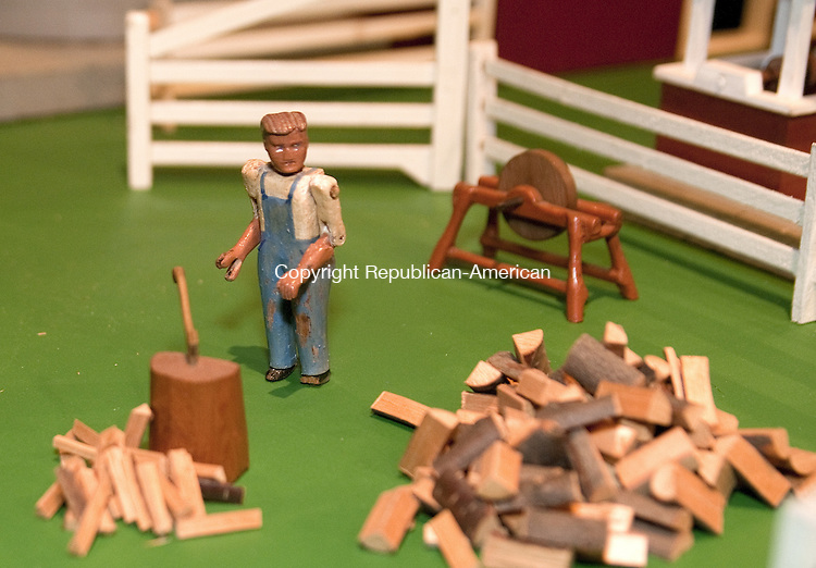 TORRINGTON, CT, 09  JULY 15 - A wood chopper, carved by Robert R. Richard is on display as a part of Hobbywood Farm at the Torrington Historical Society. Alec Johson/ Republican-American