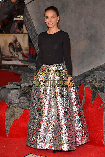 Natalie Portman<br /> World Premiere of 'Thor - The Dark World' at the Odeon, Leicester Square, London, England.<br /> October 22nd 2013<br /> full length black top silver skirt orange pattern print <br /> CAP/ROS<br /> &copy;Steve Ross/Capital Pictures