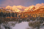 From John's 4th book. Hallett Peak in Rocky Mountain National Park at sunrise. <br />