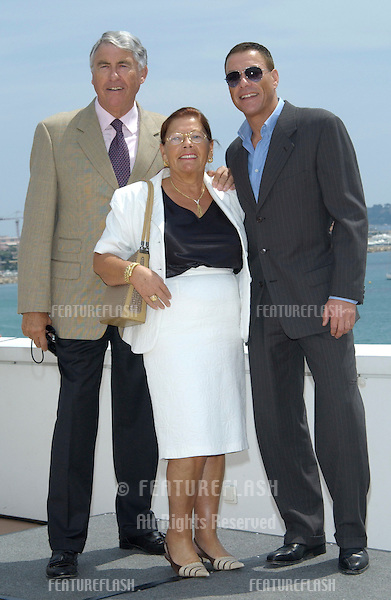 Actor JEAN-CLAUDE VAN DAMME & parents at the Cannes Film Festival to promote his movie After Death..18MAY2003