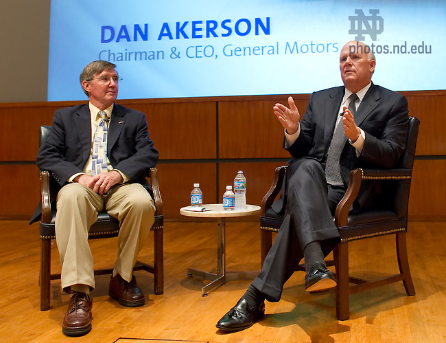 Sept. 9, 2011; Dan Akerson, Chairman & CEO of General Motors, takes questions at the Mendoza College of Business Boardroom Insights lecture series...Photo by Matt Cashore/University of Notre Dame