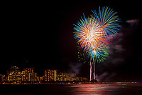 JUL 04 Fireworks display in Honolulu, Hawaii