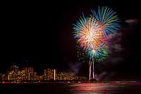 HONOLULU, HI - July 4, 2019: July 4th Fireworks display at Ala Moana Beach Park in Honolulu, HI on July 4, 2019. <br /> CAP/MPI/EKP<br /> ©EKP/MPI/Capital Pictures