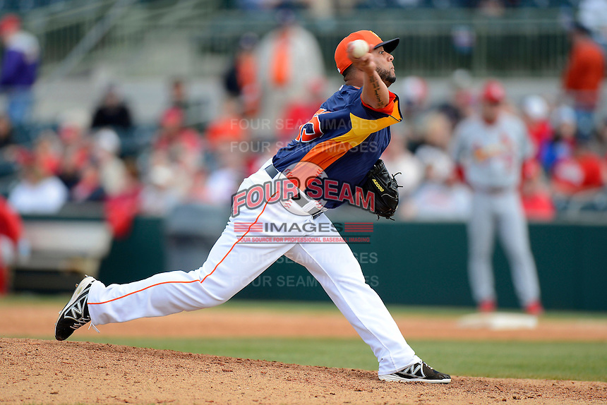 Houston Astros pitcher Rhiner Cruz #55 during a Spring Training game against the St. Louis Cardinals at Osceola County Stadium on March 1, 2013 in Kissimmee, Florida.  The game ended in a tie at 8-8.  (Mike Janes/Four Seam Images)