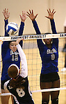 Marymount's Hannah Steger, left, and Morgan McAlpin block in a college volleyball match against PSU Harrisburg at Marymount University in Arlington, Vir., on Wednesday, Oct. 9, 2013.<br /> Photo by Cathleen Allison