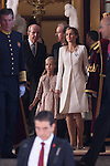 King Felipe VI of Spain and Queen Letizia of Spain leave Congreso de los Diputados with their children Princess Sofia and infant Elena after the celebration of the coronation ceremony in Madrid, Spain. Kin Juan I of Spain abdicated on his son Felipe at the beginning of June. June 19, 2013. (ALTERPHOTOS/Victor Blanco)