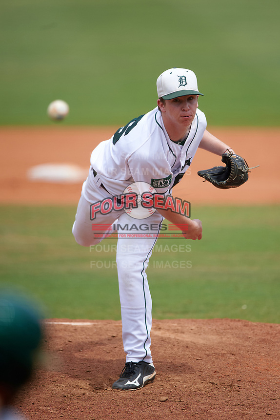 Dartmouth Big Green relief pitcher Chris Burkholder (16) delivers a pitch during a game against the South Florida Bulls on March 27, 2016 at USF Baseball Stadium in Tampa, Florida.  South Florida defeated Dartmouth 4-0.  (Mike Janes/Four Seam Images)