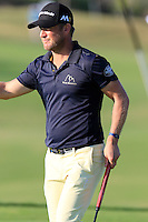 Pelle Edberg (SWE) sinks his putt on the 7th green during Thursday's Round 1 of the 2016 Portugal Masters held at the Oceanico Victoria Golf Course, Vilamoura, Algarve, Portugal. 19th October 2016.<br /> Picture: Eoin Clarke   Golffile<br /> <br /> <br /> All photos usage must carry mandatory copyright credit (© Golffile   Eoin Clarke)