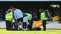 Nikos Karelis of Brentford is stretchered off after suffering an injury during Brentford vs Millwall, Sky Bet EFL Championship Football at Griffin Park on 19th October 2019