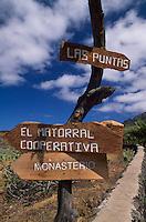 Wegweiser für Wanderwege, El Hierro, Kanarische Inseln, Spanien