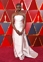 Danai Gurira arrives at the Oscars on Sunday, March 4, 2018, at the Dolby Theatre in Los Angeles. (Photo by Richard Shotwell/Invision/AP)