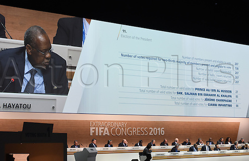 26.02.2016. Zurich, Switzerland.  The results of the first draw of the election of a new FIFA president is shown on a screen, during the Extraordinary FIFA Congress 2016 held at the Hallenstadion in Zurich, Switzerland, 26 February 2016. The Extraordinary FIFA Congress is being held in order to vote on the proposals for amendments to the FIFA Statutes and choose the new FIFA President.