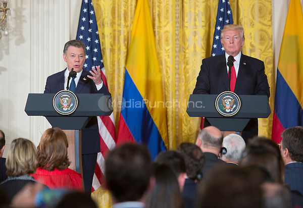 United States President Donald J. Trump participates in a joint news conference with President Juan Manuel Santos of Colombia to the White House in Washington, DC, May 18, 2017. <br /> Credit: Chris Kleponis / CNP /MediaPunch