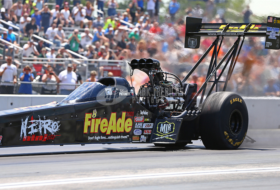 Jun 6, 2016; Epping , NH, USA; NHRA top fuel driver Leah Pritchett during the New England Nationals at New England Dragway. Mandatory Credit: Mark J. Rebilas-USA TODAY Sports