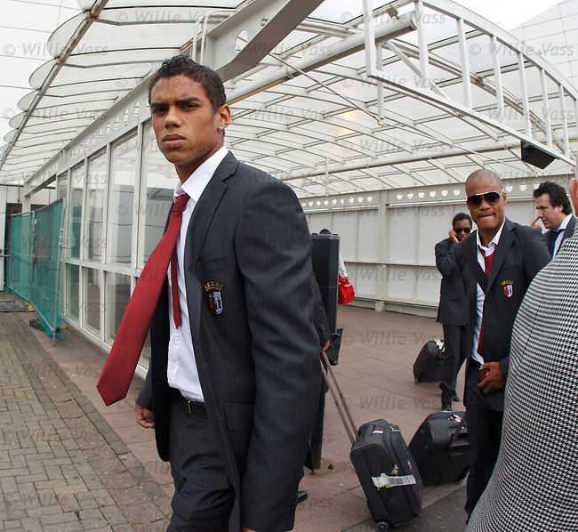 Diego Dacosta Silva about to board the Braga bus at Glasgow airport