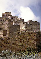 Mud bricks and stone form this tower house village. Manakha, Yemen.