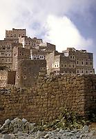 Mud bricks and stone form this tower house village. Manakha, Yemen.