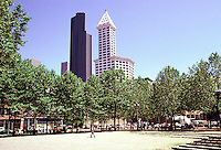 Seattle: View from Occidental Park of Smith Tower and Columbia Center.  Photo '86.
