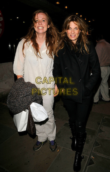 """DAISY DONOVAN & JEMIMA KHAN .The """"Riflemind"""" press night afterparty, K Bar, Upper St. Martin's Lane, London, England..September 18th, 2008 .full length black tights coat jacket boots white cream top.CAP/CAN.©Can Nguyen/Capital Pictures."""