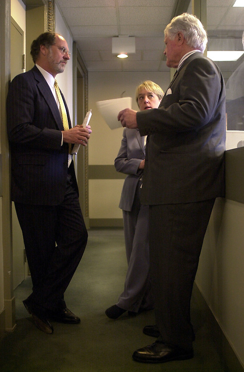 """1education032901 -- Sens. Jon Corzine, D-NJ, Patty Murray, D-WA, and Ted Kennedy, D-MA, chat outside the Senate Studio before a press conference on education urging President Bush to """"leave no child behind."""""""