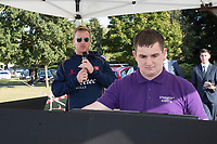 Simon Harmer of Essex takes a stint compering during Upminster CC vs Essex CCC, Benefit Match Cricket at Upminster Park on 8th September 2019