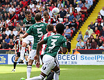 Billy Sharp of Sheffield Utd scoring the first goal of the game during the English championship league match at Bramall Lane Stadium, Sheffield. Picture date 5th August 2017. Picture credit should read: Jamie Tyerman/Sportimage
