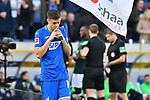 15.02.2020, PreZero-Arena, Sinsheim, GER, 1. FBL, TSG 1899 Hoffenheim vs. VFL Wolfsburg, <br /> <br /> DFL REGULATIONS PROHIBIT ANY USE OF PHOTOGRAPHS AS IMAGE SEQUENCES AND/OR QUASI-VIDEO.<br /> <br /> im Bild: Christoph Baumgartner (TSG Hoffenheim #14) betet vor dem Spiel<br /> <br /> Foto © nordphoto / Fabisch