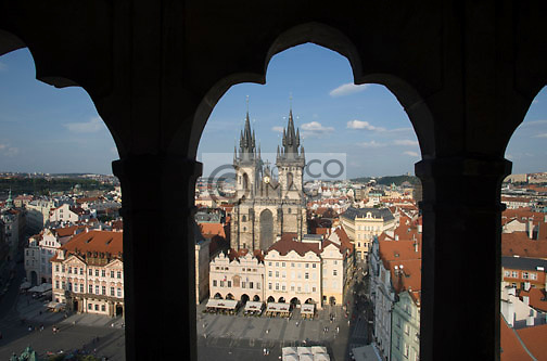 TYN CHURCH OLD TOWN SQUARE STAROMESTSKE NAMESTI PRAGUE CZECH REPUBLIC