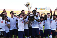 Lewis Cook and Tammy Abraham of England U21's proudly hold the Trophy aloft as they celebrate winning the Tournament during Mexico Under-21 vs England Under-21, Tournoi Maurice Revello Final Football at Stade Francis Turcan on 9th June 2018