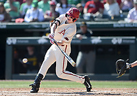 NWA Democrat-Gazette/CHARLIE KAIJO Arkansas Razorbacks outfielder Heston Kjerstad (18) swings during a baseball game, Sunday, March 17, 2019 at Baum-Walker Stadium in Fayetteville.