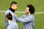 Real Madrid's Carlos Henrique Casemiro (l) and Marcelo Vieira during training session. February 14,2017.(ALTERPHOTOS/Acero)