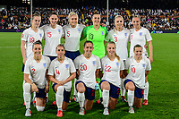 England Women pre match team photo (back row l-r) Keira Walsh, Abbie McManus, Steph Houghton, Goalkeeper Mary Earps, Alex Greenwood & Toni Duggan (from row l-r) Lucy Bronze, Jordan Nobbs, Lucy Staniforth, Beth Mead & Fran Kirby during the Women's International friendly match between England Women and Australia at Ashton Gate, Bristol, England on 9 October 2018. Photo by Bradley Collyer / PRiME Media Images.
