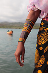 A close up view of traditional bead wristband wear by Kuna Indian women. San Blas Archipielago. Panama