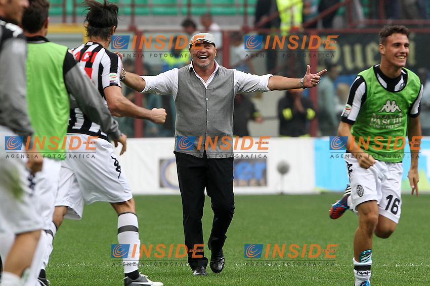 "Esultanza Serse Cosmi Siena.Celebration.Milano 23/09/2012 Stadio ""San Siro"".Football Calcio Serie A 2012/13.Inter v Siena.Foto Insidefoto Paolo Nucci."