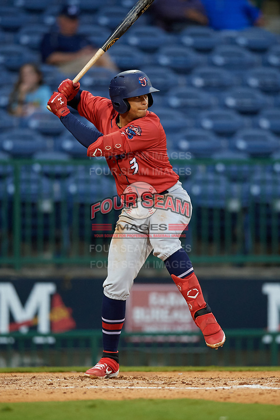 Jacksonville Jumbo Shrimp Joe Dunand (3) during a Southern League game against the Mississippi Braves on May 4, 2019 at Trustmark Park in Pearl, Mississippi.  Mississippi defeated Jacksonville 2-0.  (Mike Janes/Four Seam Images)