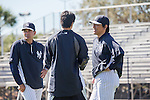 (L-R) Trey Hillman,  Hideki Matsui (Yankees),<br /> FEBRUARY 20, 2014 - MLB :<br /> New York Yankees' special assistant Trey Hillman and guest instructor Hideki Matsui during the New York Yankees spring training camp at George M. Steinbrenner Field in Tampa, Florida, United States. (Photo by Thomas Anderson/AFLO) (JAPANESE NEWSPAPER OUT)