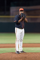 AZL Giants Black relief pitcher Jose Maita (39) looks in for the sign during an Arizona League game against the AZL Rangers at Scottsdale Stadium on August 4, 2018 in Scottsdale, Arizona. The AZL Giants Black defeated the AZL Rangers by a score of 6-3 in the second game of a doubleheader. (Zachary Lucy/Four Seam Images)