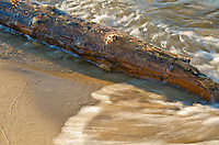 A small wave breaks around a log on the Lake Superior shore at Miner's Beach in Pictured Rocks National Lakeshore, Alger County, Michigan