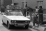 """Thorpe works for us."" Jeremy Thorpe on the election campaign trail mid Devon constituency 1979. He lost  his liberal parliamentary seat. England."