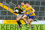 Kerry David Moran is tracked by Roscommon's Ian Kilbride and Niall McInerney during their NFKL Div 1 clash in Fitzgerald Stadium on Sunday