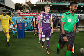 9th January 2018, nib Stadium, Perth, Australia; A League football, Perth Glory versus Melbourne City; Andy Keogh captain of the Perth Glory leads his side out for the start of the match against Melbourne City